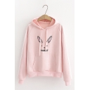 Cute Rabbit Print Striped Panel Long Sleeve Regular Fit Hoodie with Pocket