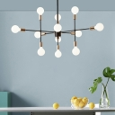 Mid Century Modern Radial Pendant Light Metal Multi Light Chandelier in Brass for Living Room