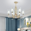 6/8/10 Lights Cone Chandelier Lighting Clear Ribbed Glass Modern Hanging Ceiling Light in Gold