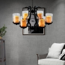 Traditional Cylinder Pendant Light with Chain Clear Glass and Marble 6 Lights Chandelier in Black