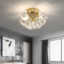 Brass Sputnik Flush Ceiling Light Traditional 3/10 Lights Flush Mount Light with Crystal Flower