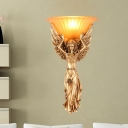 1 Light Gold/White Angel Wall Mount Lamp with Glass Shade Rustic Loft Resin Wall Lighting for Dining Room
