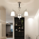 Tapered Chandelier Lighting with White Fabric Shade 3/6/8 Lights Foyer Pendant Lamp in Chrome