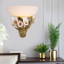 Milk Glass Bowl Wall Lighting with White Flower 1 Head Wall Sconce Light in Yellow/White