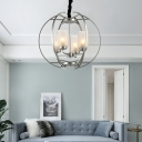 Modern Wire Globe Pendant Lamp with Opal Glass Shade 4 Lights Silver Suspension Light for Foyer