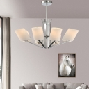 8 Lights Cylinder Pendant Lamp with Opal Glass Shade Contemporary Hanging Ceiling Light for Living Room