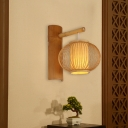 Asian Suspender Wall Light with Lantern Shade 1 Light Mini Wall Sconce Lamp in Wood Finish