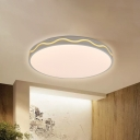 White Circular Flushmount Light with Frosted Diffuser Modernism Metal Led Flush Ceiling Light in White/Neutral/Warm