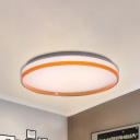 Orange Round Flushmount Lamp Contemporary Led Ceiling Flush Lighting in Warm/White/Natural, 10
