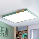 Blue/Green/Pink/Yellow Rectangle Flushmount Light Macaron Modern Integrated Led Flush Light in Warm/White