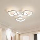 Floral Shape White Flushmount Lighting 3/5/12-LED Metal Modern Ceiling Flush Lamp in Warm/White Light