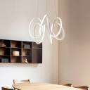 Aluminum Calligraphy Lighting Fixture Modernism LED Dining Table Chandelier Lamp in Warm/White