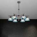 Blue/Clear/Smoke Gray Conic Pendant Chandelier Glass Modernism 6/8/10-Bulb Hanging Ceiling Light for Bedroom