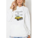 Letter I SURVIVED MY TRIP TO NYC Car Pattern Loose Long Sleeve Hoodie with Kangaroo Pocket