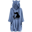 Women's WHAT Letter Cat Print Cat Ear Flowy Hoodie Blouse with Pocket