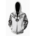 3D Printed White Long Sleeve Unisex Zip Hoodie with Pockets