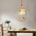 Modern Drum Pendant Light with Bird Accents Clear Faceted Crystal 1 Light Black/Gold Foyer Drop Light
