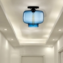 Modern Red/Sky Blue/Amber/Smoke Gray/Coffee Lantern Flushmount Light 1 Bulb Flush Mount Lamp with Glass Shade in Black