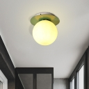 Opal Glass Global Flushmount Ceiling Lamp Modern 1 Light Ceiling Mounted Fixture with Gray/White/Green/Wood Canopy