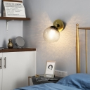 Clear Textured Glass Sphere Wall Lighting Modern Vintage Single Light Mini Wall Mount Light in Gold