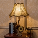 Rustic Bell Standing Table Lamp Single Light Printing Fabric Shade Table Light with Peacock and Clock