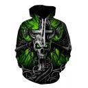 3D Terrible Skull Printed Long Sleeve Casual Pullover Hoodie