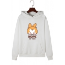 Cartoon Animal NOPE NOT TODAY Letter Print Long Sleeve Pullover Hoodie