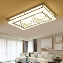 Crystal Linear Flush Lighting with Hexagon/Square Pattern Contemporary Integrated Led Flushmount Lighting in Chrome