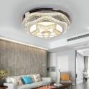 Faceted Crystal Star/Gyro Flushmount Lighting Contemporary Led Flush Ceiling Lamp in Chrome