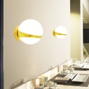 1/2 Heads Spherical Wall Mount Lighting Frosted Glass Shade Modern Wall Lamp in Gold