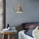 Macaron Conical Wall Sconce Light Metallic 1 Heads Rotatable Reading Light in Grey/White
