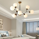 9/12/15 Lights Branch Chandelier White Glass Shade Mid Century Modern Pendant Lamp in Gold