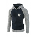 Trendy Shield and Two Swords Logo Print Colorblock Long Sleeve Zip Up Drawstring Hoodie