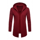 Whole Colored Open Front Long Sleeve Longline Hooded Cardigan Hoodie