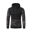 New Trendy Camouflage Panelled Pocket Long Sleeve Drawstring Hoodie