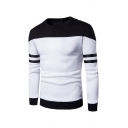 Round Neck Colorblocked Stripe Long Sleeve Casual Sweatshirt for Men