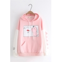 Cute Cartoon Dinosaur Colorblocked Panel Long Sleeve Loose Relaxed Drawstring Hoodie