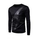 Fashion Lightning Pattern Leather Panel Round Neck Long Sleeve Casual Sweatshirt