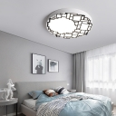 Metal Round Flushmount Light Modern Decorative Led Flush Lighting with Geometric Pattern