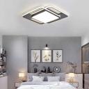 Geometric Flush Mount Light Modern Aluminum Led Flush Ceiling Light in Black