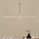 Solid Wood Linear Hanging Light Chinese Style 31.5