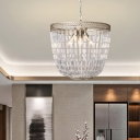 French Style Chandelier Light with Clear Crystal 3 Lights Hanging Pendant Light in Silver Leaf