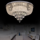 Luxury Clear Crystal Flush Mount Ceiling Light Modern Integrated Led Flush Lamp, 23.5