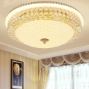 Clear Crystal Round Flush Light with Frosted Glass Diffuser Modernism Living Room Lighting, 16
