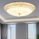 Modern Dome Flush Lighting White Glass and Clear Crystal 1 Light 12