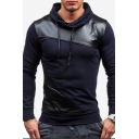 Men's Hot Fashion Colorblock Print Leather Patch Long Sleeve Hoodie
