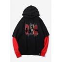 New Fashion Animal Printed Colorblock Long Sleeve Fake Two-Piece Drawstring Pullover Unisex Hoodie