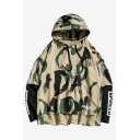 Mens Fashion Cool Camouflage Letter Printed Fake Two-Piece Long Sleeve Casual Loose Fit Hoodie