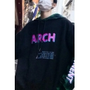 Guys New Stylish Letter ARCH Print Long Sleeve Fake Two-Piece Drawstring Hoodie