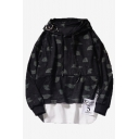 Mens Cool Fashion Letter FUKK Printed Ribbon Patched Metal Ring Embellished Fake Two-Piece Long Sleeve Casual Loose Black Hoodie